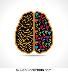 image of brain with rupee symbol