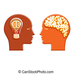 Conceptual illustration, lamp and a shone brain in heads of ...