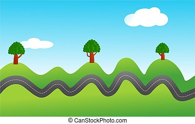 conceptual illustration of a bumpy road travelling through the countryside