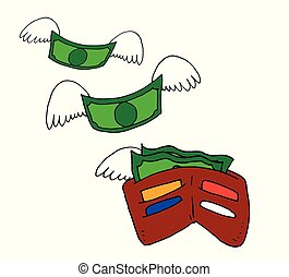 Conceptual illustration of a portfolio from which the money fly away