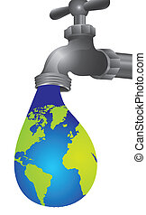 conceptual illustration of leaking tap