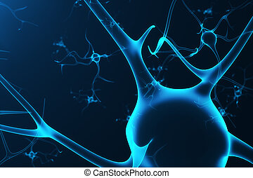 Conceptual illustration of neuron cells with glowing link...