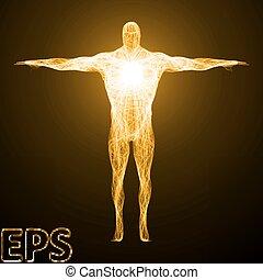 conceptual illustration of spiritual energy. body builder version.