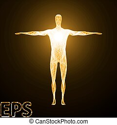 conceptual illustration of spiritual energy. golden color version.