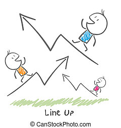 Conceptual illustration of the growth of the business. Line up.