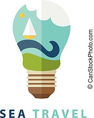 Conceptual illustration of the lamp and the waves with a sailboat. vector