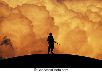 Conceptual Illustration of War: a lonely soldier with dramatic sky at Dawn
