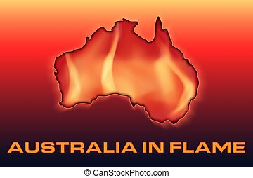 Continent of Australia is on fire. - Conceptual illustration...