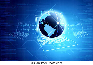 Conceptual image for internet and information technology. Illustrated with a globe and laptop computers sharing information