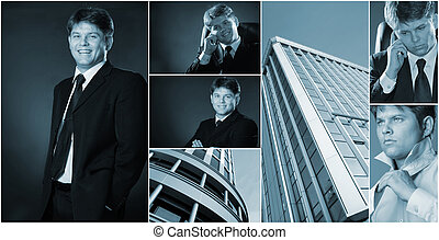 Conceptual image-grid of business photos. Llife businessman