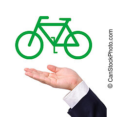 Conceptual image, help the environment with bike riding