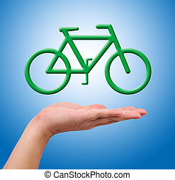 Conceptual image, help the environment with bike riding.