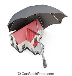 Conceptual image house under the umbrella. 3d rendering