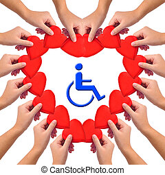 Conceptual image, Love handicapped person. Hands with hearts...