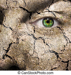 Conceptual image of a mud cracked face can be used for...