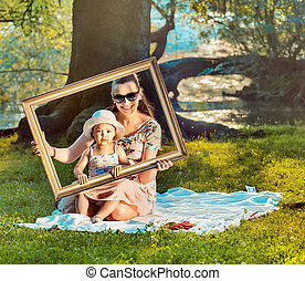Conceptual image of a real painting made by mother and...