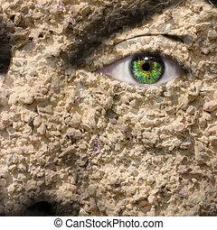 Conceptual image of a textured face