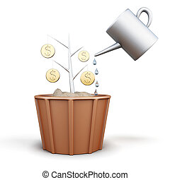 Conceptual image of a tree with coins is watered from a watering can. 3d illustration