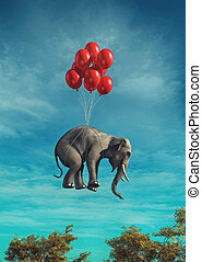 Conceptual image of an elephant flying