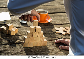 Conceptual image of building a new business