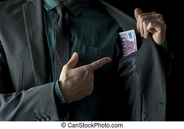 Conceptual image of businessman showing money