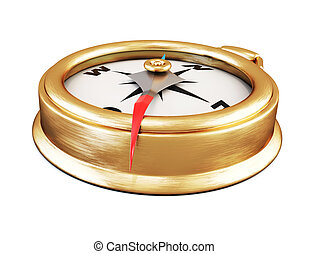 Conceptual image of compass close up. 3d.