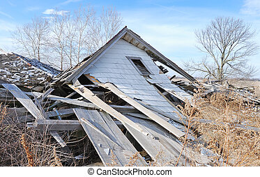demolished farm house - conceptual image of demolished farm...