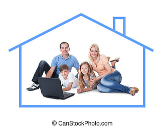 Conceptual image of family at home