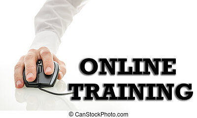 Conceptual image of Online Training or distance learning with the hand of a man using a wire computer mouse connected to the text - Online Training - with copyspace