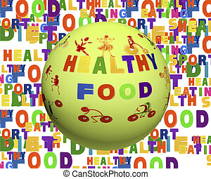 Conceptual image of tag cloud containing words related to food, sports, nutrition and healthy lifestyle in the shape of the sphere