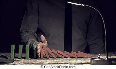 Conceptual image of the Domino Effect