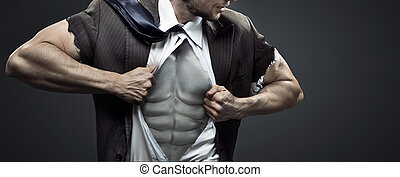 Conceptual image of tired muscular businessman