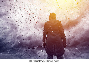 Conceptual image of young female person facing uncertain...
