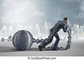 Conceptual image presenting a tired debtor - Conceptual...