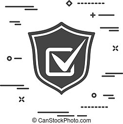conceptual image protection of elections. Flat shield icon with
