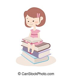 Conceptual image with a girl and books.