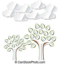 Conceptual image with abstract paper trees and clouds cut out on white background. Vector illustration with abstract paper trees for Your eco, recycling, environmental or other theme design