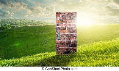 Conceptual image with door as new way