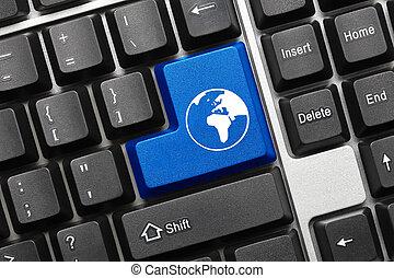 Conceptual keyboard - Blue key with world symbol