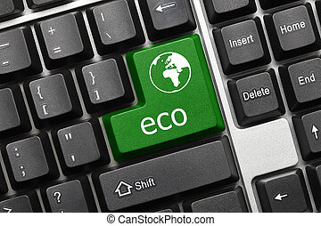 Conceptual keyboard - Eco (green key with world icon)