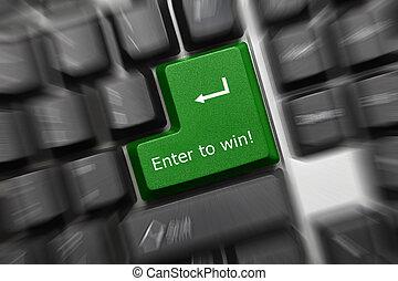 Conceptual keyboard - Enter to win (green key zoom effect) -...