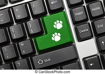 Conceptual keyboard - Green key with dog footprints symbol -...