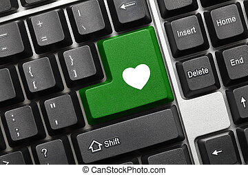 Conceptual keyboard - Green key with heart symbol