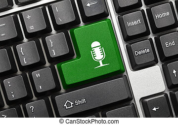 Conceptual keyboard - Green key with microphone symbol
