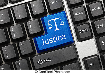 Conceptual keyboard - Justice (blue key) - Close up view on...