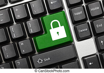 Conceptual keyboard - Lock icon (green key)