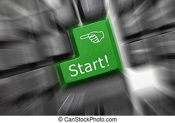 Conceptual keyboard - Start (green key). Zoom effect