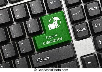 Conceptual keyboard - Travel Insurance (green key)