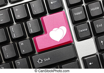 Conceptual keyboard - Two hearts (pink key)
