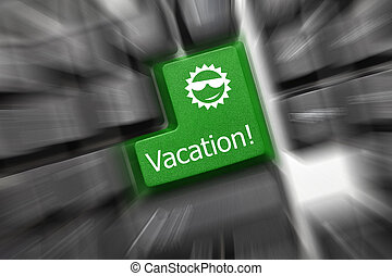 Conceptual keyboard - Vacation (green key). Zoom effect